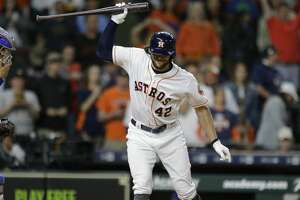 Houston Astros Jake Marisnick throws his bat after striking out swinging against the Texas Rangers during the tenth inning to end game at Minute Maid Park Sunday, April 15, 2018, in Houston. ( Melissa Phillip / Houston Chronicle )