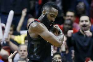 Houston Rockets guard James Harden (13) flexes after he made a basket while being fouled near the end of the third quarter as the Houston Rockets take on the Minnesota Timberwolves in Game 1 of the first round of the NBA playoffs at the Toyota Center Sunday, April 15, 2018 in Houston.  (Michael Ciaglo / Houston Chronicle)