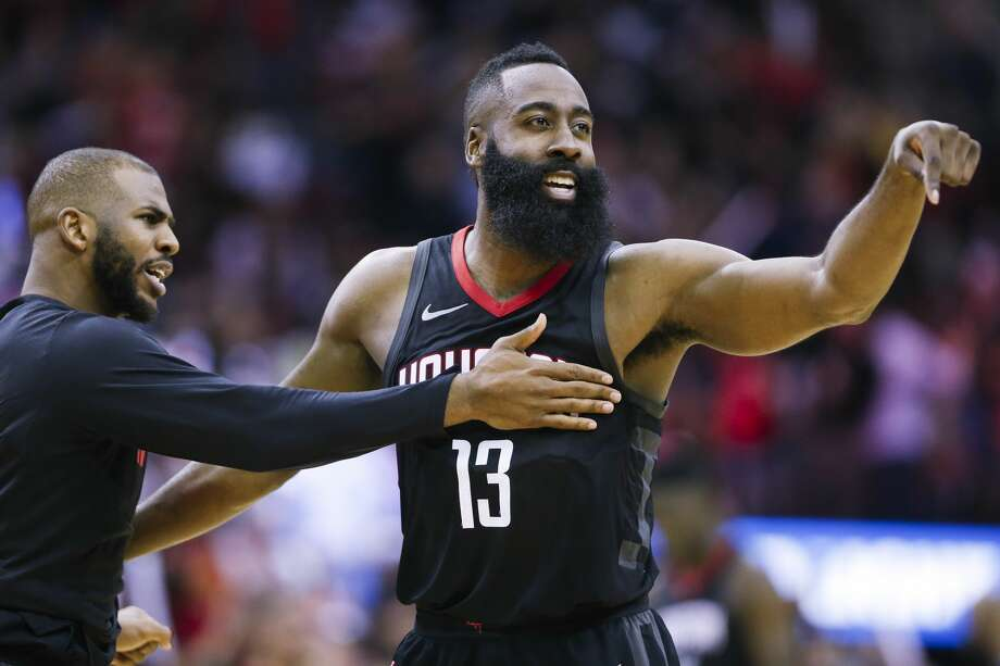 James Harden, celebrating with Chris Paul, joined a select group with his 44-point, 8-assist performance in Game 1 vs. the Timberwolves. Photo: Brett Coomer/Houston Chronicle