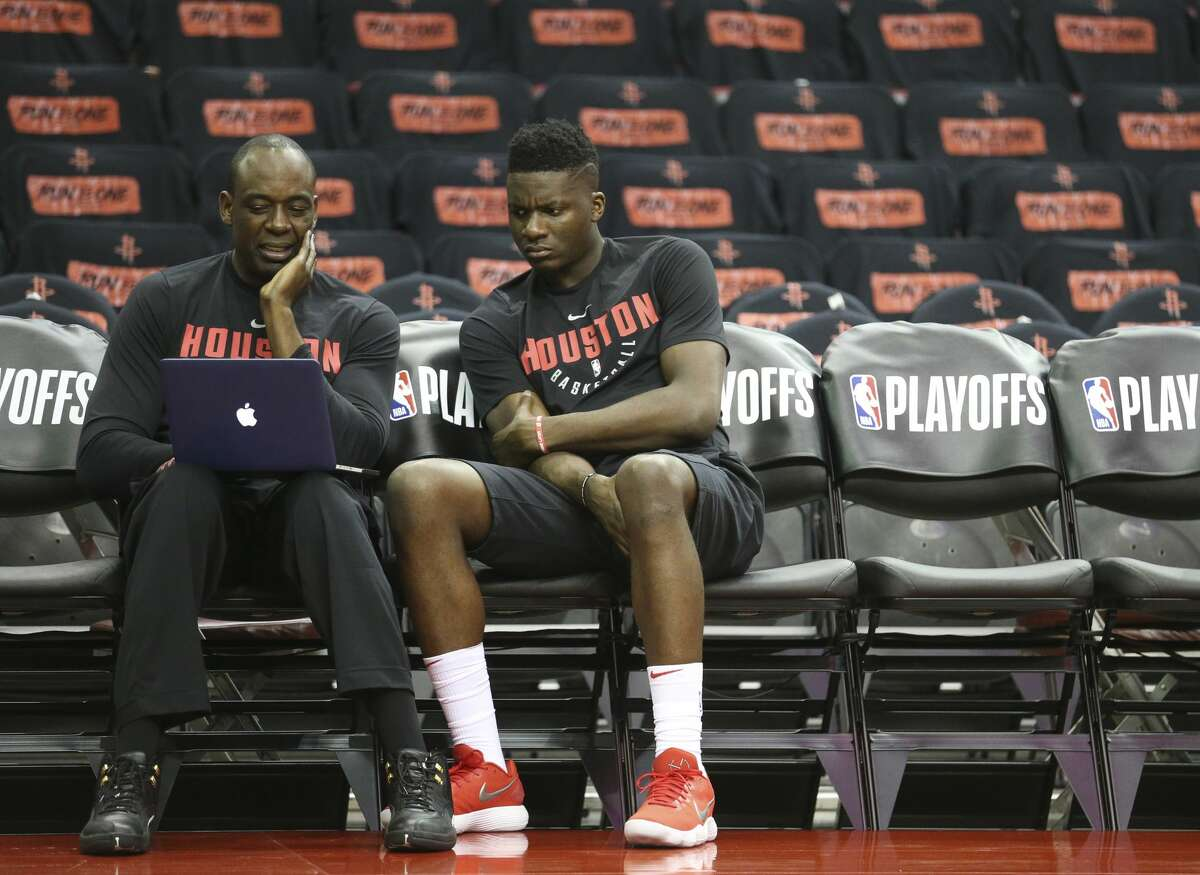 Houston Rockets center Clint Capela and coach Roy Rogers have conversations before Game 1 of an NBA basketball first-round playoff series against the Minnesota Timberwolves at Toyota Center on Sunday, April 15, 2018, in Houston. ( Yi-Chin Lee / Houston Chronicle )