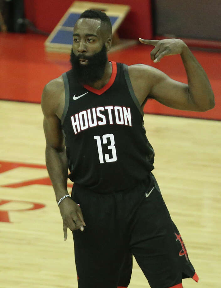 f084ff273ead Houston Rockets guard James Harden (13) celebrates his three-pointer during  the first