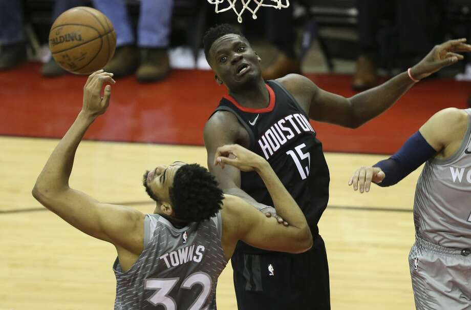 Rockets center Clint Capela set his career playoff high with 24 points Sunday, getting the better of the Timberwolves' Karl-Anthony Towns. Photo: Yi-Chin Lee/Houston Chronicle