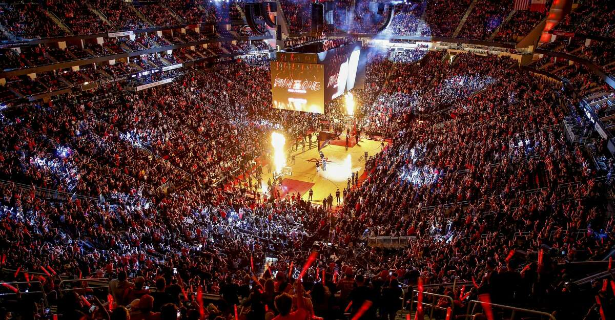 Players are introduced as the Houston Rockets take on the Minnesota Timberwolves in the first game of the NBA playoffs Sunday, April 15, 2018 in Houston. (Michael Ciaglo / Houston Chronicle)