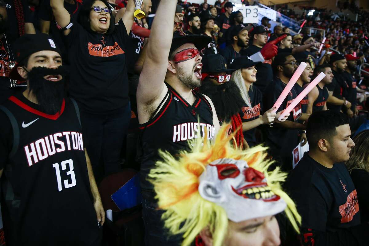 Fans cheer as the Houston Rockets take on the Minnesota Timberwolves in the first game of the NBA playoffs at the Toyota Center Sunday, April 15, 2018 in Houston. (Michael Ciaglo / Houston Chronicle)