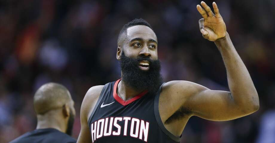 Houston Rockets guard James Harden (13) celebrates during the fourth quarter of Game 1 of an NBA basketball first-round playoff series at Toyota Center on Sunday, April 15, 2018, in Houston. ( Brett Coomer / Houston Chronicle ) Photo: Brett Coomer/Houston Chronicle