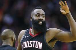 Houston Rockets guard James Harden (13) celebrates during the fourth quarter of Game 1 of an NBA basketball first-round playoff series at Toyota Center on Sunday, April 15, 2018, in Houston. ( Brett Coomer / Houston Chronicle )