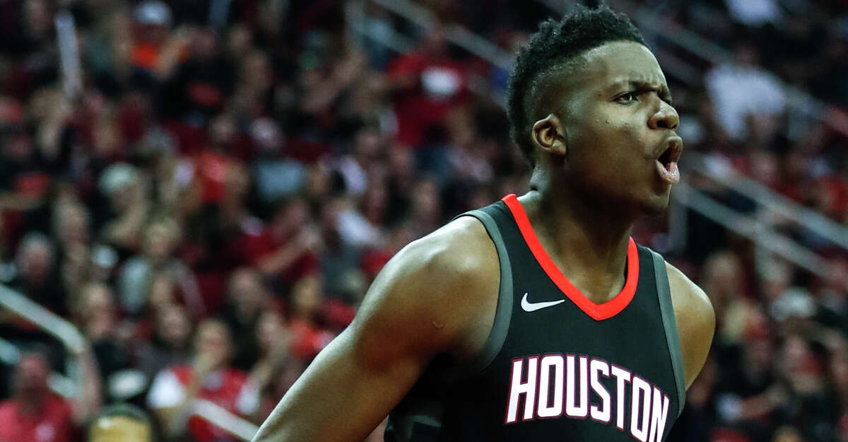 Houston Rockets center Clint Capela (15) reacts after scoring against the Minnesota Timberwolves during the second quarter of Game 1 of an NBA basketball first-round playoff series at Toyota Center on Sunday, April 15, 2018, in Houston. ( Brett Coomer / Houston Chronicle )