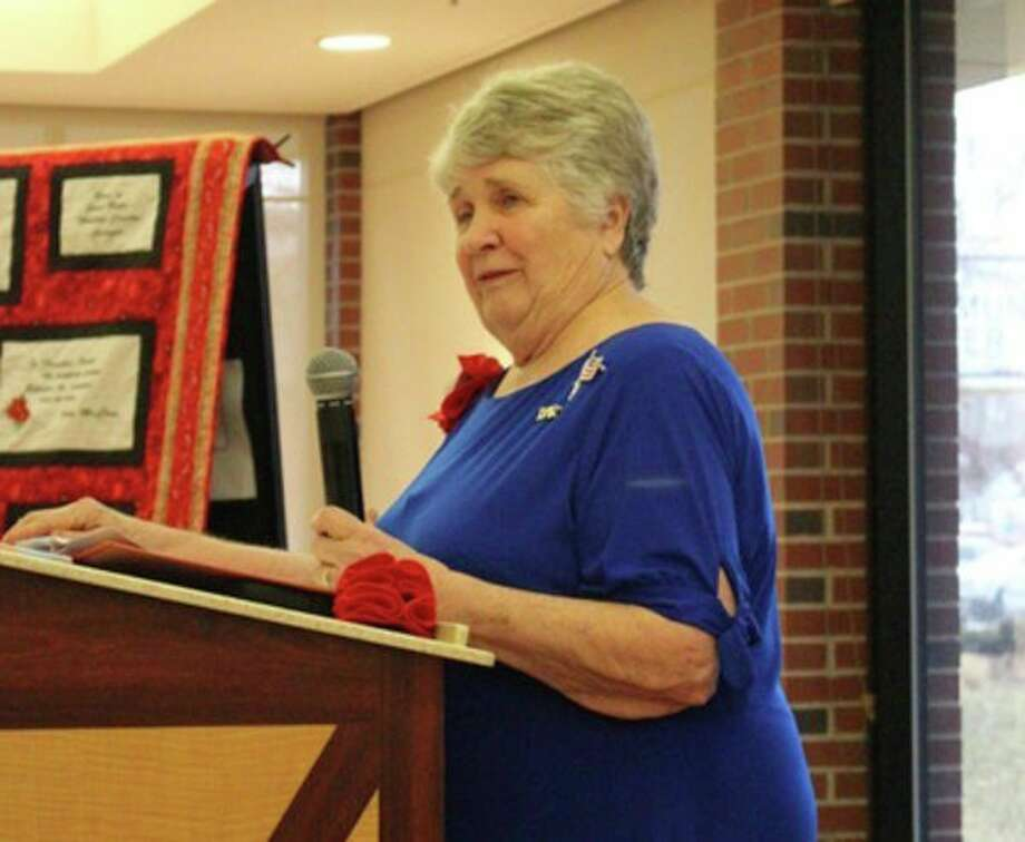 Jane Reese, a member of the Elijah Clarke Chapter NSDAR in Athens, Georgia, speaks at the April meeting of the John Alden Chapter, NSDAR. (Photo provided)