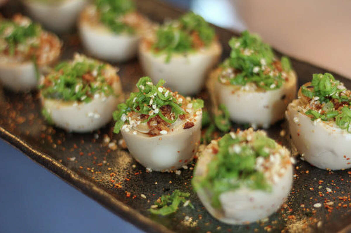 The deviled egg at OKO is a soft-boiled ramen egg that's marinated in soy and mirin, then completed with Japanese mayo and crispy pork belly. Sakura Garden, Glastonbury Hartford County Yokohama, New Milford Litchfield County Hanami, Clinton Middlesex County Osaka, East Lyme New London County Asian Bistro, Mansfield Tolland County Oriental Cafe, Willimantic Windham County