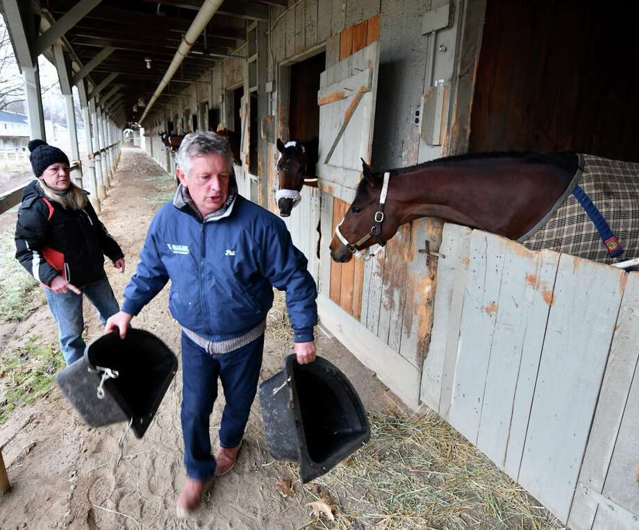 Oklahoma Training Center opened Monday morning but horses and trainers fell a morning chill that might make it difficult to picture the upcoming racing season at Saratoga Race Course. Photo: Skip Dickstein / Times Union