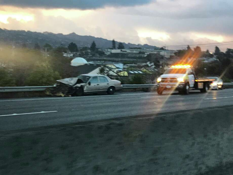 A four-vehicle crash caused all lanes of Interstate 80 to shut down early Monday in Richmond, authorities said. Photo: Chris Preovolos /