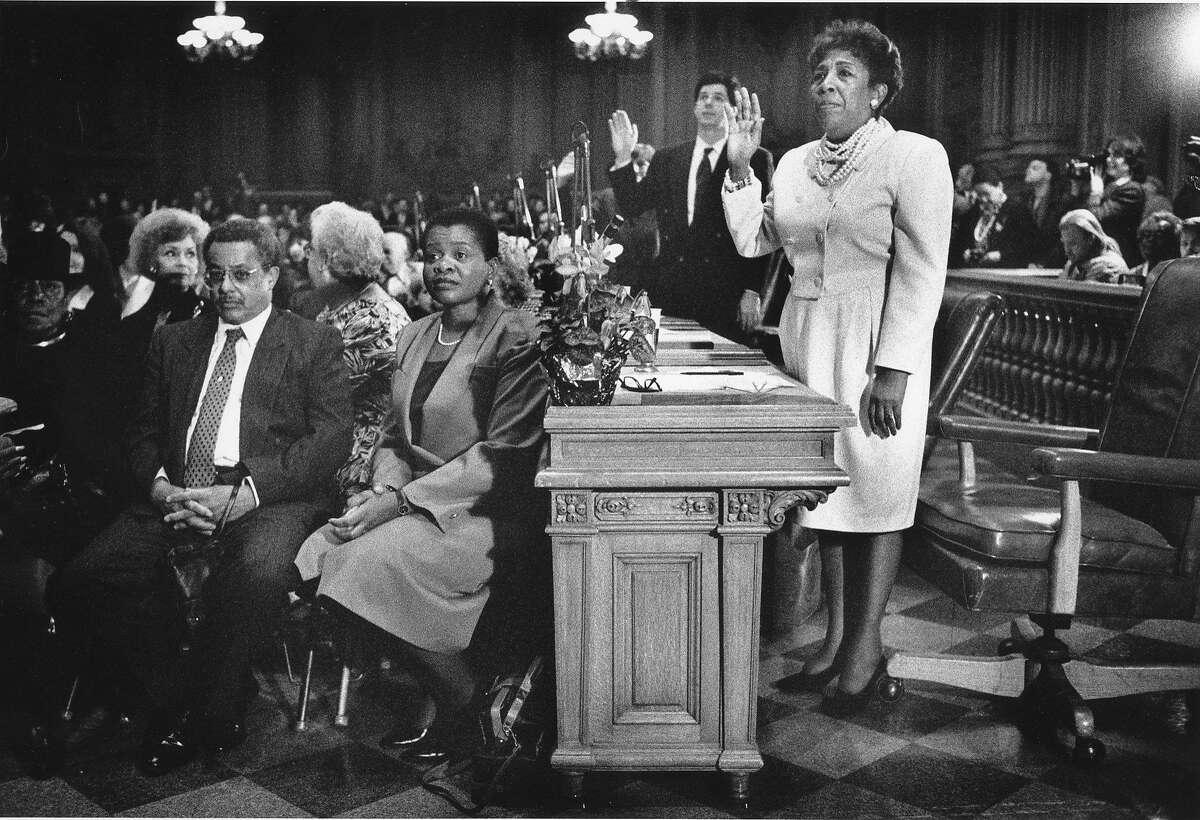 Doris Ward was sworn in as president of the San Francisco Board of Supervisors on Jan. 8, 1990.
