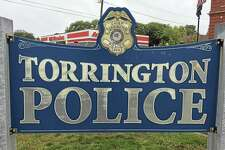 The sign marking the Torrington Police Department.