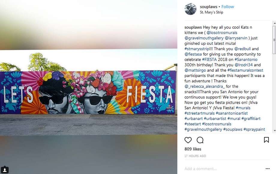 souplaws: Hey hey all you cool Kats n kittens we ( @losotrosmurals @gravelmouthgallery @larryservin ) just ginished up out latest mutal #stmarysstrip!!! Thank you @redbull and @fiestasa for giving us the opportunity to celebrate #FIESTA 2018 on #Sanantonio 300th birthday