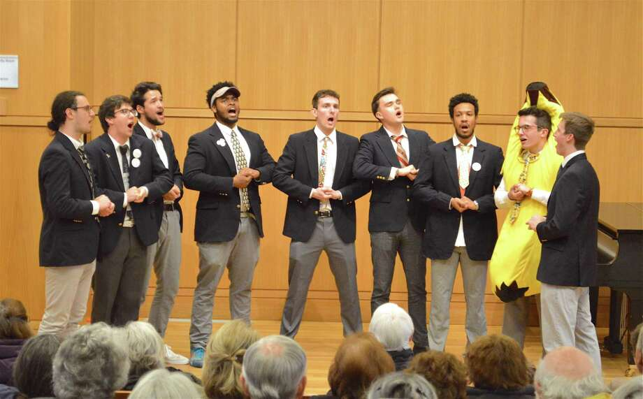 Nine members of the 11-member ensemble were in town at the performance of Amherst College's a cappella group The Zumbyes, at Darien Library, Sunday, April 15, 2018, in Darien, Conn. Photo: Jarret Liotta / For Hearst Connecticut Media / Darien News Freelance