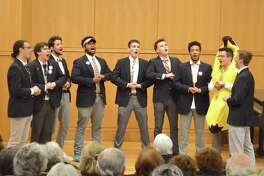 Nine members of the 11-member ensemble were in town at the performance of Amherst College's a cappella group The Zumbyes, at Darien Library, Sunday, April 15, 2018, in Darien, Conn.