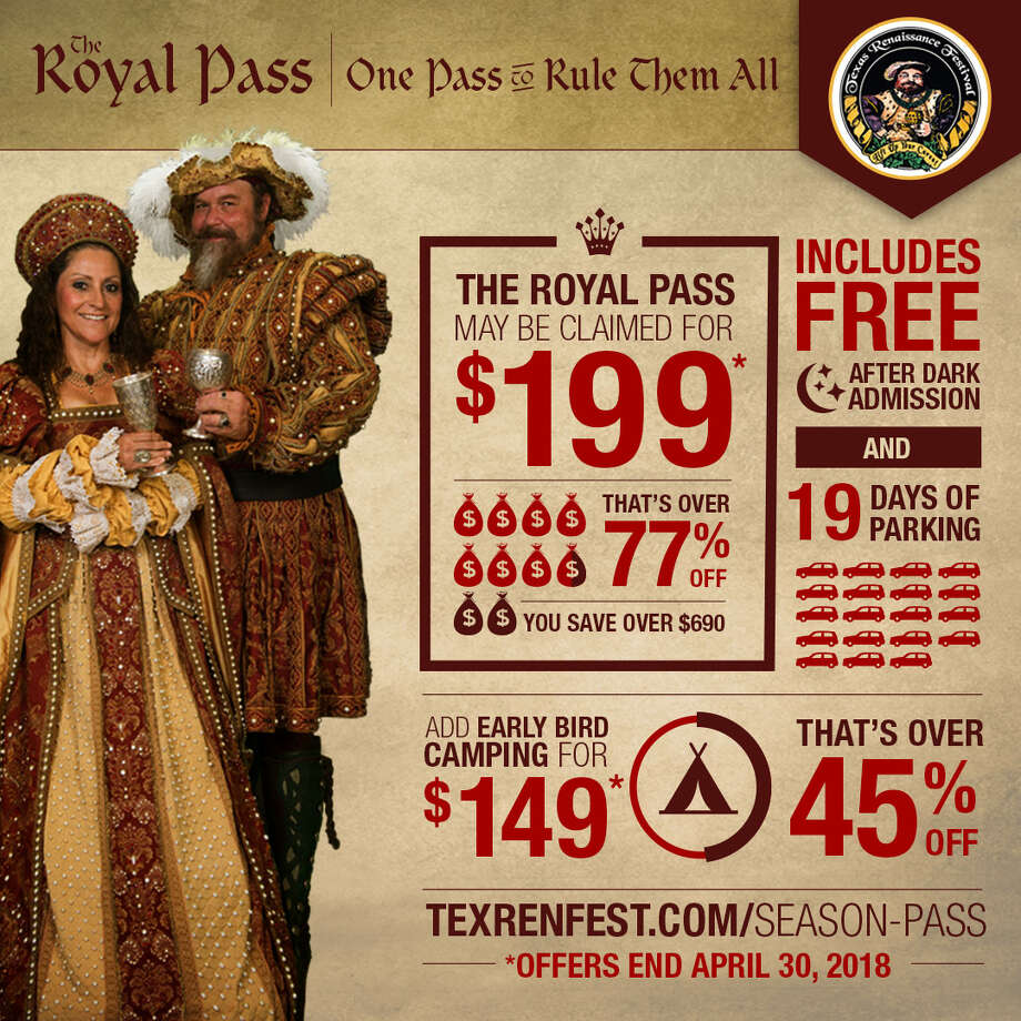 Magic, merriment and majesty await at this year's Texas Renaissance Festival, the nation's largest Renaissance-themed event, now announcing unique themes for all nine festival weekends, from Sept. 29 to Nov. 25, 2018, and a brand new season pass, The Royal Pass, at a limited time early bird discount through April 30, 2018.