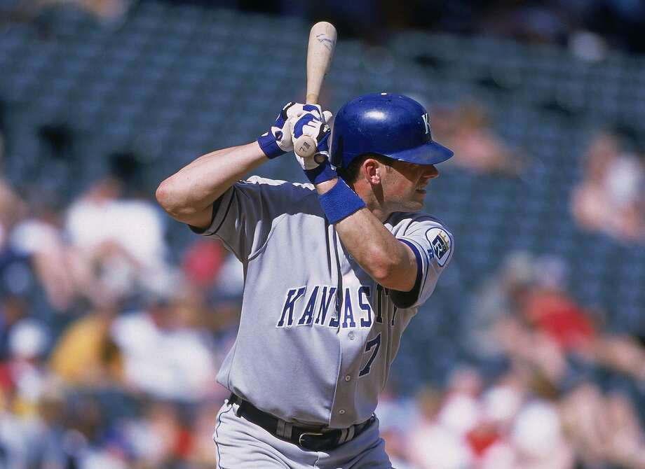 31 May 2001:  A.J. Hinch #7 of the Kansas City Royals at bat during the game against the Texas Rangers at the Ballpark in Arlington, Texas.  The Royals defeated the Rangers 8-2. Mandatory Credit: Ronald Martinez  /Allsport Photo: Ronald Martinez/Getty Images