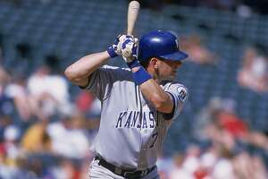 31 May 2001:  A.J. Hinch #7 of the Kansas City Royals at bat during the game against the Texas Rangers at the Ballpark in Arlington, Texas.  The Royals defeated the Rangers 8-2. Mandatory Credit: Ronald Martinez  /Allsport