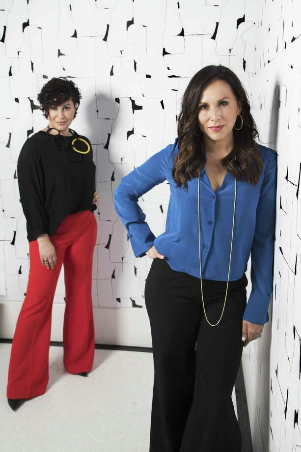 Jamie Graney, CEO and founder of Olivia + Poppy wallpaper company, right, and the company's creative director, Tina Silvestri. Photo: Marie D. De Jesus, Houston Chronicle / Houston Chronicle / © 2018 Houston Chronicle