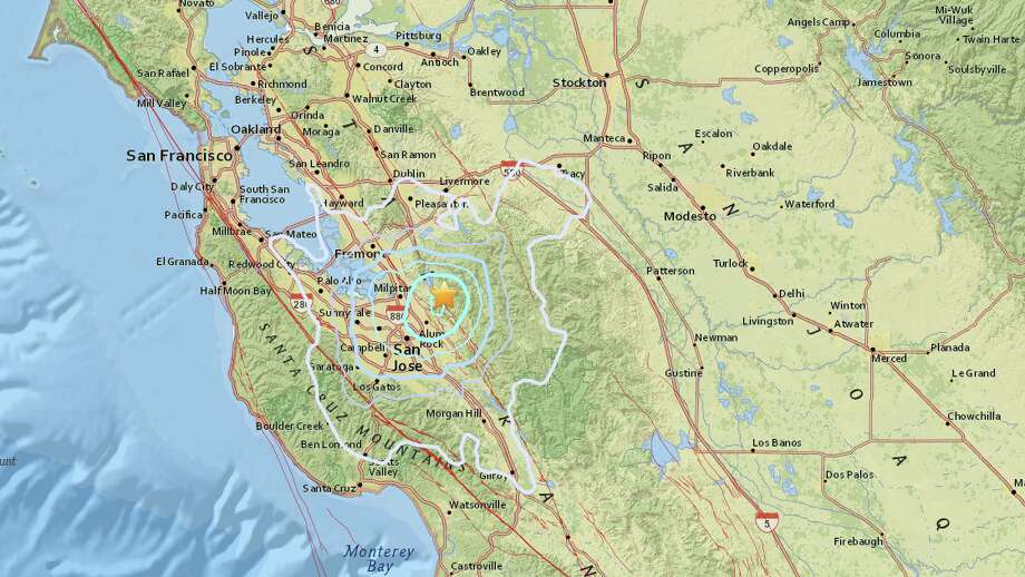A 3.9 earthquake rattled the San Jose area Monday morning, according to the United States Geological Survey. Photo: USGS