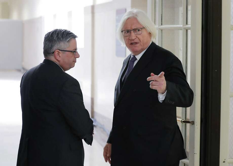 """Tom Mesereau (right), lawyer for Bill Cosby, plans to call a witness who will testify that Cosby's chief accuser had mused about setting up a """"high-profile person"""" and filing a lawsuit. Photo: Lucas Jackson / Associated Press"""