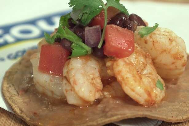 Grilled Shrimp Tostadas with Black Bean Salsa from Goya Foods
