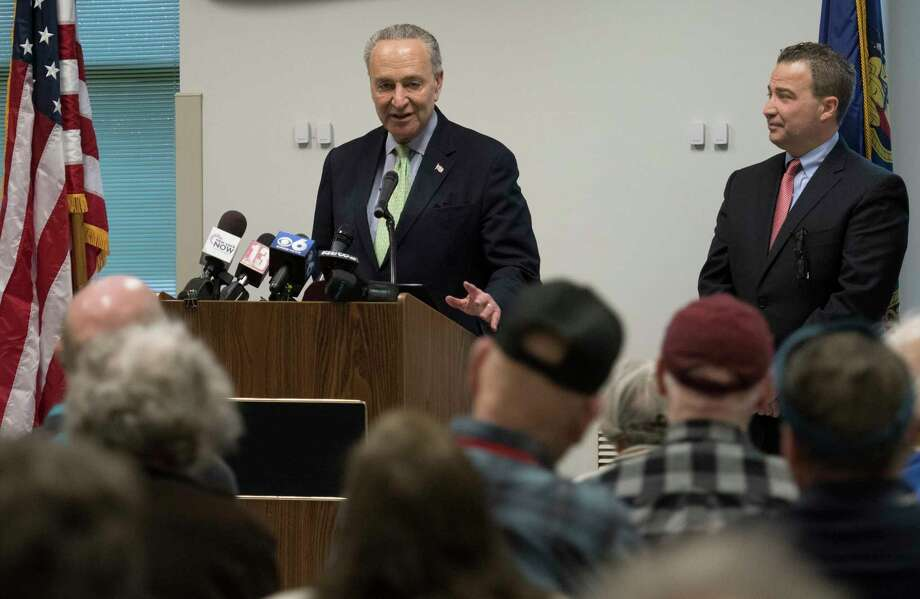 Senator Charles Schemer made a visit to the Glenville Senior Citizens Center to talk to the assembly about the wait times at Social Security offices Monday April 16, 2018 in Glenville, N.Y.  (Skip Dickstein/Times Union) Photo: SKIP DICKSTEIN, Albany Times Union / 40043516A