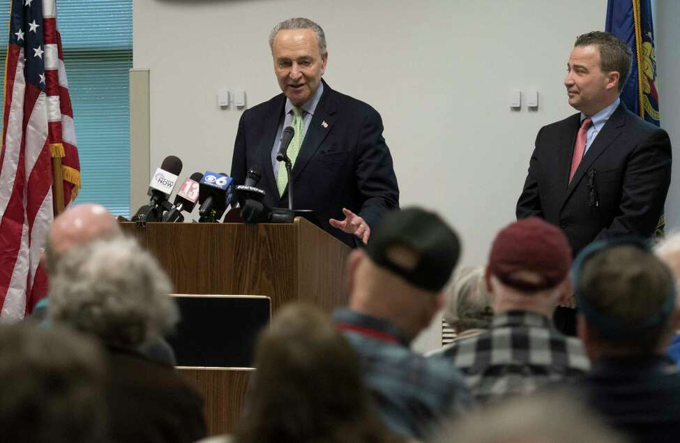 Senator Charles Schemer made a visit to the Glenville Senior Citizens Center to talk to the assembly about the wait times at Social Security offices Monday April 16, 2018 in Glenville, N.Y. (Skip Dickstein/Times Union)