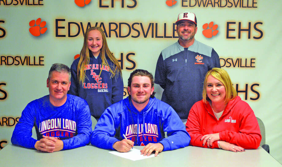Edwardsville senior Collin Elvers will play baseball at Lincoln Land Community College. In the front row, from left to right, are father Jeff Elvers, Collin Elvers and mother Tobey Elvers. In the back row, from left to right, are sister Chloe Elvers and EHS coach Tim Funkhouser.