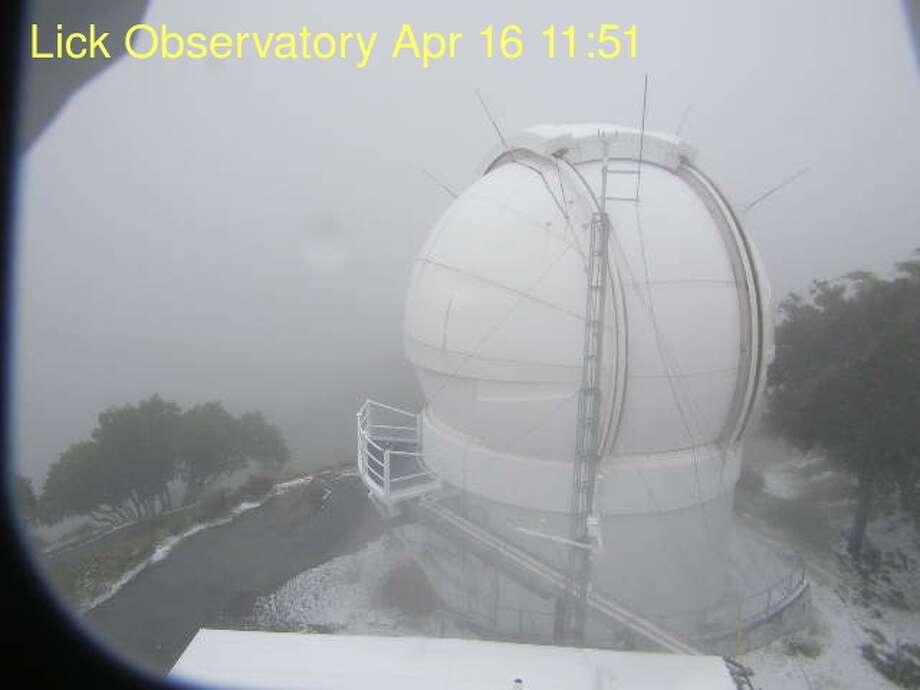 Snow dumped on San Jose's Mount Hamilton on April 16, 2018. Photo: Lick Observatory