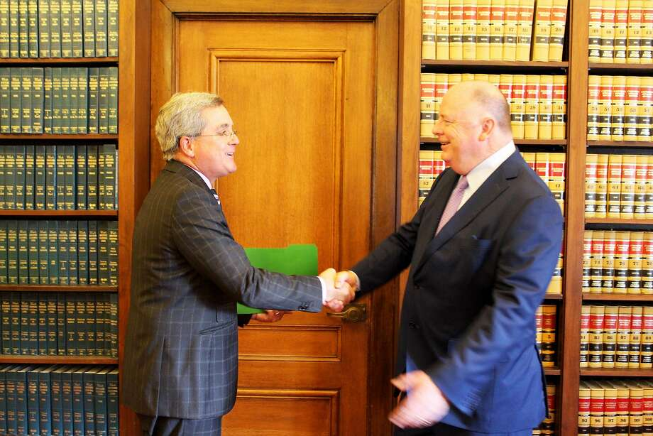 San Francisco City Attorney Dennis Herrera and former judge and U.S. attorney for the Northern District of California Kevin V. Ryan on Monday. Ryan has been appointed to the city's Ethics Commission Photo: San Francisco City Attorney's Office / San Francisco City Attorney's Office