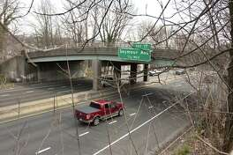 A view of the Bluff Street Route 8 overpass in Derby, Conn., on Friday Apr. 13, 2018. Connecticut DOT was going to demolish it but has simce decided to repair the overpass instead.