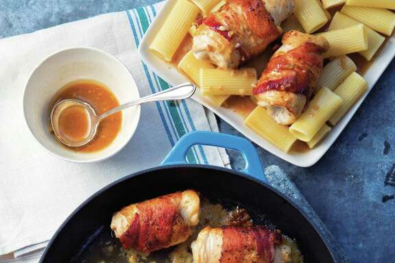 Bacon, sage and provolone chicken rolls with marsala sauce