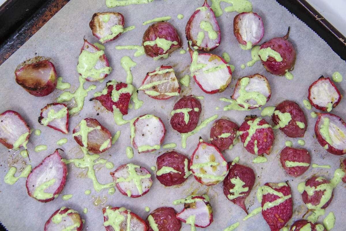 Roasted radishes with Green Goddess Dressing