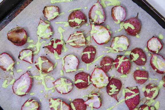 Roasted radishes with Green Goddess Dressing