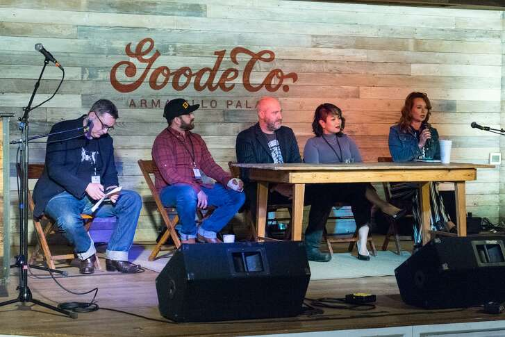 """The 2018 Foodways Texas symposium, """"Shrimp and Grit: Food and Community Along the Texas Gulf Coast,"""" featured a panel discussion on feeding communities after Hurricane Harvey. Left to right: Panel moderator, writer David Leftwich; chef Lyle Bento, owner of Southern Goods; chef Richard Knight of Harold's in the Heights; Cat Nguyen, a sommelier and wine representative; and Sam McCrary, owner of Mermaid's Kitchen in Rockport."""