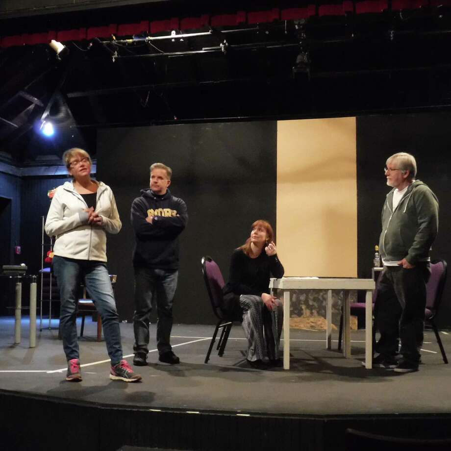 "Gillian Baily, left, Rick Haylon, Monica O'Brien and David Halliwell rehearse for ""Other People's Money"" at Brookfield Theatre for the Arts, April 27 through May 12. Photo: Brookfield Theatre / Contributed Photo"