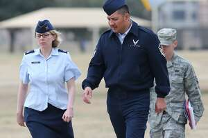 The conviction of Master Sgt. Michael Silva (center), since overturned, was part of an extended scandal involving sexual assaults and harassment at Joint Base San Antonio-Lackland.