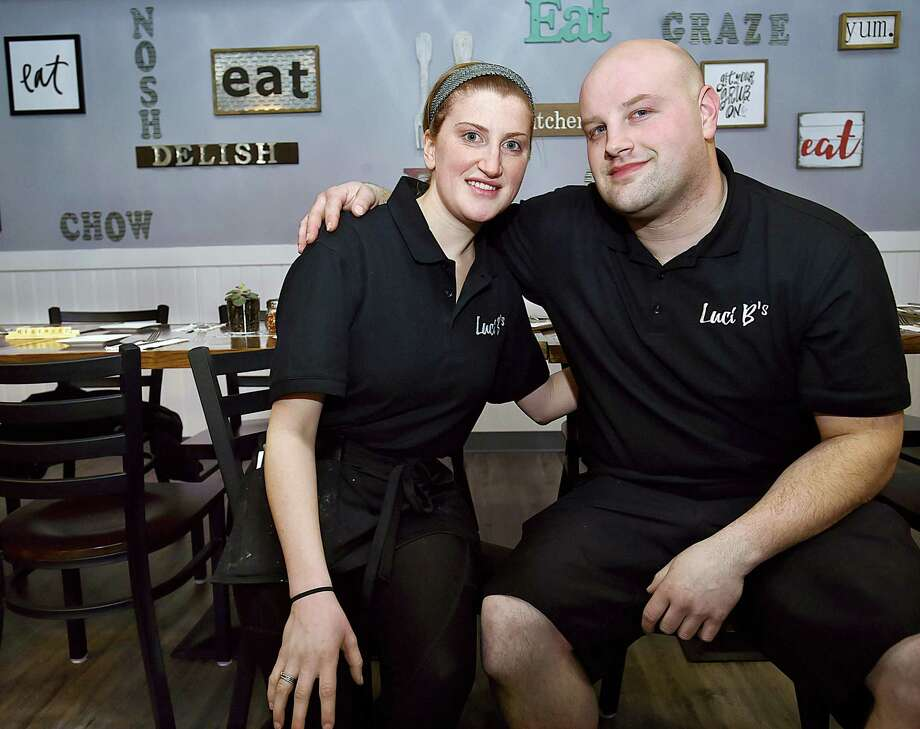 Nick Pierelli and his sister Alex Pierelli at Luci B's Kitchen and Cocktails at 521 New Haven Ave. in Milford on April 7. The Pierelli siblings opened the eatery onApril 2, serving American-Italian cuisine prepared by Chef Mark Lynch. Photo: Catherine Avalone / Hearst Connecticut Media / New Haven Register