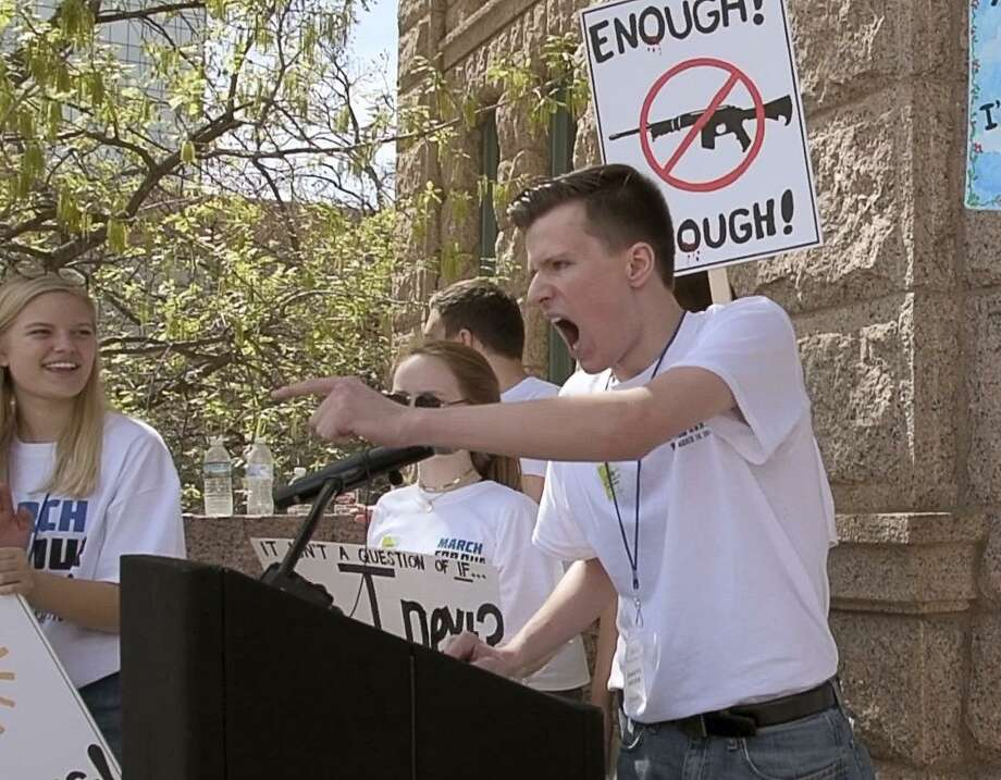 Dakota Rudzik speaks during the March For Our Lives Fort Worth event on the courthouse steps in Downtown Fort Worth on March 24. , 2018. People don't realize how often guns are used in youth suicides. Photo: Max Faulkner /TNS / Fort Worth Star-Telegram