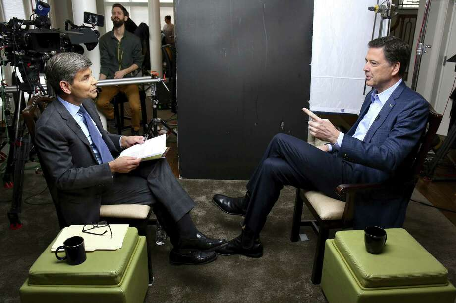 "In this image released by ABC News, correspondent George Stephanopoulos, left, appears with former FBI director James Comey for a taped interview that will air during a primetime ""20/20"" special on Sunday, April 15, 2018 on the ABC Television Network. Comey's book, ""A Higher Loyalty: Truth, Lies, and Leadership,"" will be released on Tuesday. (Ralph Alswang/ABC via AP) Photo: Ralph Alswang / Associated Press / ©2018 American Broadcasting Companies, Inc. All rights reserved."