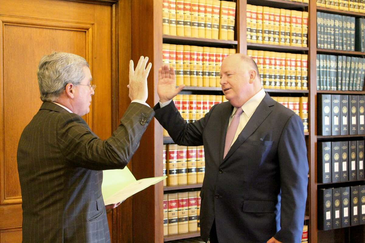 San Francisco City Attorney Dennis Herrera swears in U.S. Attorney as a member of the city's Ethics Commission