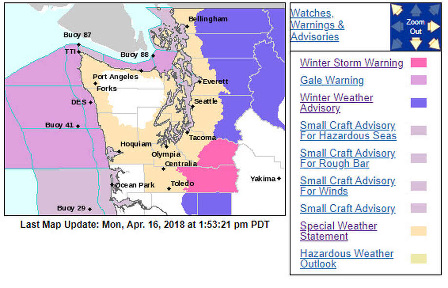April rains continue in Western Washington while snow is also on tap for the Cascades on Monday. Photo: NOAA