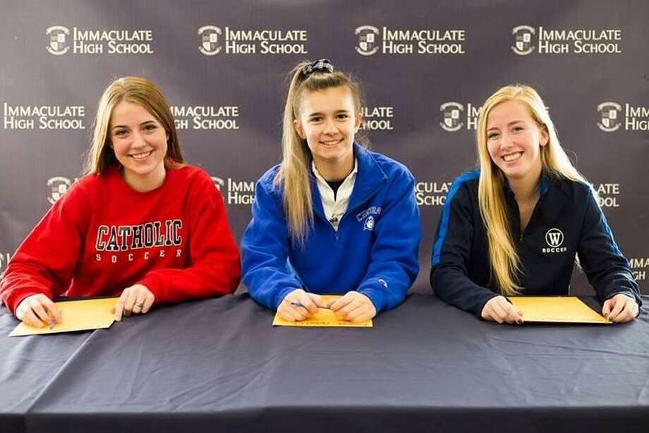 Immaculate High School soccer players, from left, Kinsey Jarboe, Kristen Roessler and Nicolette Stocks. Photo: Contributed Photo