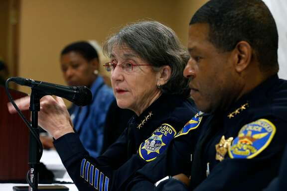 Oakland police chief Anne Kirkpatrick and San Francisco police chief Bill Scott discussing officer- involved shootings. Policing experts say the Trump administration has abandoned its responsibility to devise reforms for law enforcement agencies, including San Francisco.