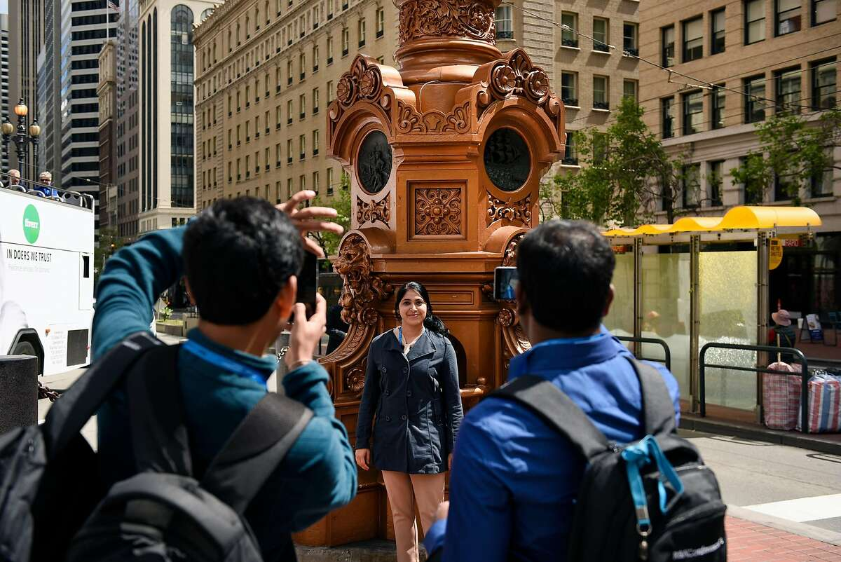 Anoosha Rai of India has her picture taken in front of Lotta's Fountain on Market Street in San Francisco, CA, on Monday April 16, 2018.