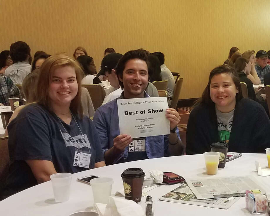 Midland College students Ryan Keithley, from left, Chris Amaya and Rebecca McAdoo show off the second-place in Best of Show award the newspaper staff received from the Texas Intercollegiate Press Association. Photo: Courtesy Photo