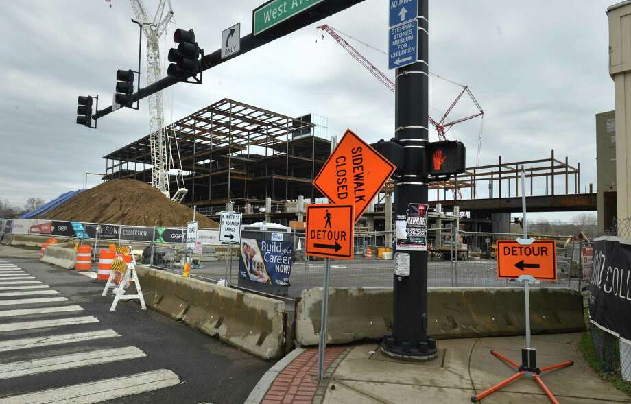 The intersection of West Ave. and North Water st. which is closed due to construction of The SONO Collection Mall on Monday April 16, 2018 in Norwalk Conn. Photo: Alex Von Kleydorff / Hearst Connecticut Media / Norwalk Hour