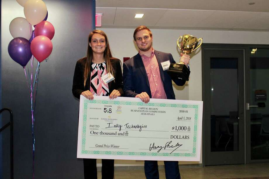 Mikayla Lansing, left, and Simon Bruno, right, recently won first place at the Capital Region Collegiate Bu-siness Plan Competition for their pitch about Inky's Bookshelf.